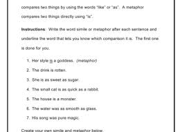 simile metaphor hyperbole or personification worksheet simile