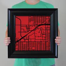 Texas Tech Campus Map Texas Tech University Campus Map Art City Prints