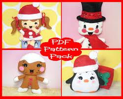 pdf pattern christmas felt doll pattern pack felt snowman