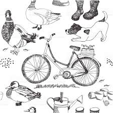 Drawings Of A Bicycle Boots A Watering Can And Birds Stock Vector