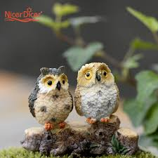 1 pc diy miniature owls dollhouse bonsai craft garden ornaments