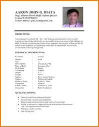 Example Of Resume Letter For Job by Sample Of Personal Information In Resume 5613