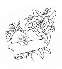 heart and roses for valentines day coloring page for kids flower