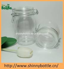airtight clear glass jar with hinged lid 1l food grade rubber seal