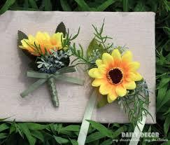 sunflower corsage 10pcs artificial sunflower groom boutonniere men corsage women