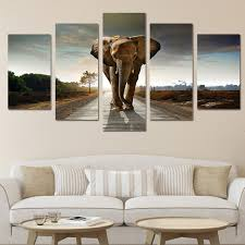 chambre de d馗ompression hd imprimé afrique éléphants paysage groupe peinture décoration de