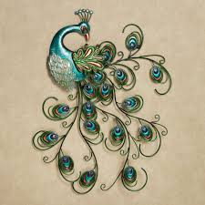 Blue Bird Home Decor Pretty Peacock Indoor Outdoor Metal Wall Art Outdoor Metal Wall