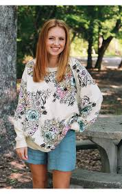 free people go on get floral sweatshirt shop