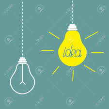 two hanging yellow light bulbs idea concept vector illustration