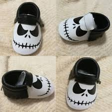jack skellington genuine leather halloween baby shoes trendymeow