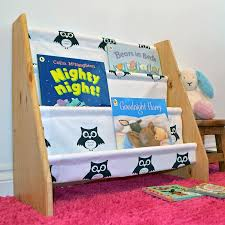 kids wooden book sling bookcase with black and whi loubilou