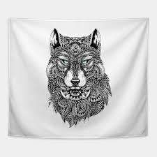 black wolf ornate illustration tapestry teepublic