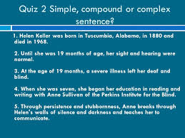 Alabama Institute For The Deaf And Blind Sentences Simple Compound And Complex Sentence Simple Sentence