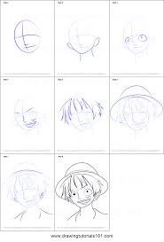 how to draw monkey d luffy from one piece printable step by step