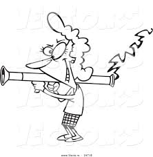 vector of a cartoon woman scorned shooting a bazooka outlined