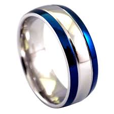 stainless steel wedding rings blue fashion ring silver stainless steel wedding band