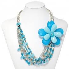 blue beaded necklace images Multi strand flower necklace silver chain beaded flower necklaces blue jpg