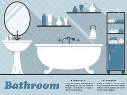 bathroom interior in flat style with bath mirror wash basin