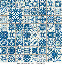 seamless tile pattern colorful lisbon mediterranean stock vector