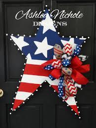 happy 4th of july star patriotic wood cut out door hanger doors 4th of july patriotic star wooden door hanger door decoration