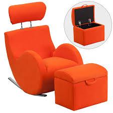 Orange Storage Ottoman Series Orange Fabric Rocking Chair With Storage Ottoman In Orange