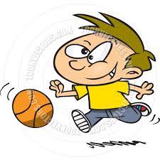cartoon boy playing basketball by ron leishman toon vectors eps