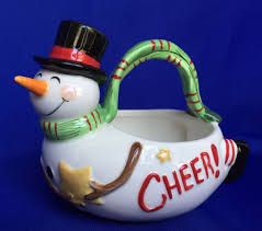 fitz and floyd snowman basket holiday home christmas candy dish