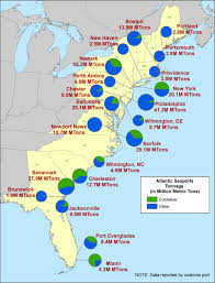 map of east coast states atlantic coast us seaports bureau of transportation statistics