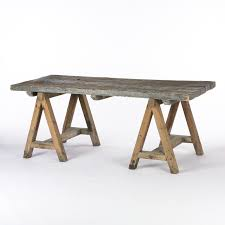 Sawhorse Trestle Desk Rustic Wood Dining Table With Sawhorse Legs Wood Varies In Color