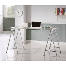 sleek desk sleek metal writing desk with tempered glass top clear and silver