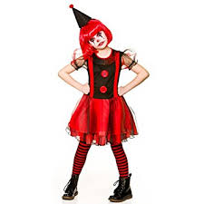 girls freaky scary clown halloween fancy dress costume 5 7 years