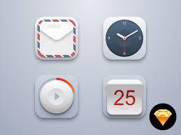 mini icon set mail clock player calendar sketch freebie