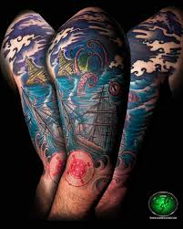 nautical sea creature color half sleeve by andre cheko tattoonow