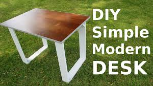 How To Make A Computer Out Of Wood by Diy Simple Modern Style Desk Youtube
