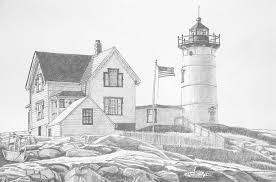 cape neddick light house drawing drawing by dominic white