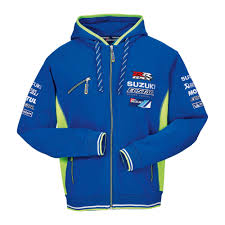 suzuki genuine 2017 motogp team hoodie zip up front pocket branded