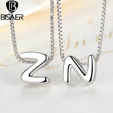 sterling silver necklace pendants images Bisaer fashion diy women pendants zn letter names pendant charms jpg