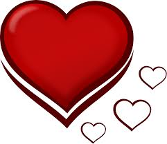 clipart red stylised heart with smaller hearts