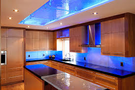 Custom Kitchen Design With LED Colour Changing RGB Strip Lights By - Kitchen cabinet led downlights