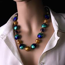 glass beads necklace images Balbi blown glass beads necklace blue color jpg