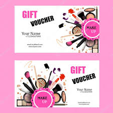 gift voucher card design set cosmetic products for make up artist