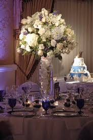 white and blue tall centerpiece tall centerpieces reception my