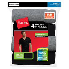 hanes men u0027s freshiq comfortsoft dyed v neck t shirt 4 pack
