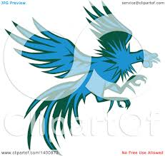 clipart of a retro blue and green flying and fighting rooster