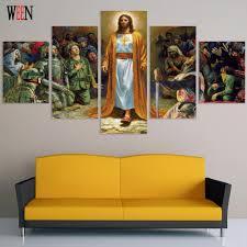 aliexpress com buy hd pilgrimage to jesus 5 panel wall canvas