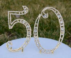 rhinestone number cake toppers new 5 gold bling rhinestone number 50 cake topper 50th