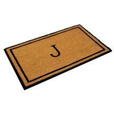 Coir And Rubber Doormat Monogrammed J Coco Coir Doormat Customized Welcome Mat