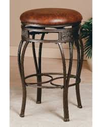 Backless Swivel Bar Stool Amazing Deal On Hillsdale Montello Brown Metal And Faux Leather