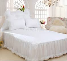 online shop luxury snow white lace bedspread princess bedding set