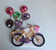 bicycle cake topper fondant bicycle cake topper with pink and purple baloons with gold